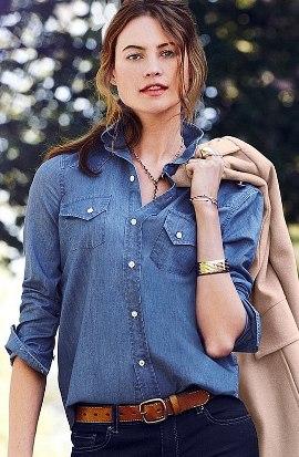женская джинсовая рубашка с джинсами