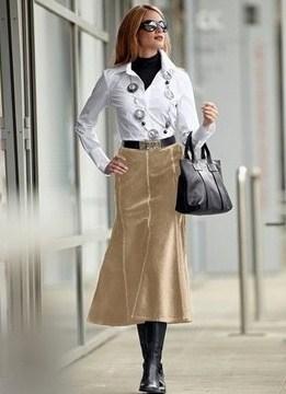 С чем носить длинную юбку годе