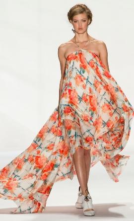оригинальное цветочное платье в пол лето 2014