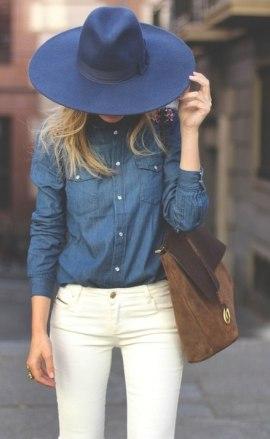 с чем носить джинсовую рубашку фото