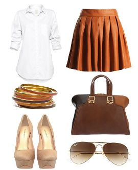 с чем носить коричневую кожаную юбку