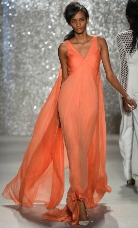 вечернее длинное платье из шифона 2014 года