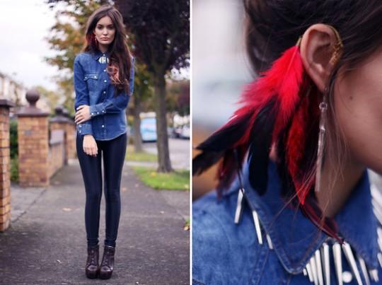 луки с джинсовой рубашкой